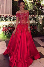 Load image into Gallery viewer, Off the Shoulder Beads Sequins Stretch Satin Cheap Long Red A-line Prom Dresses RS302