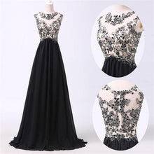 Load image into Gallery viewer, New Arrival Black Appliques prom dresses prom Dress RS569