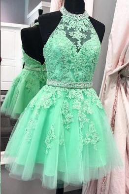 2019 Halter Open Back Appliques Beads Tulle Lace Homecoming Dress RS529