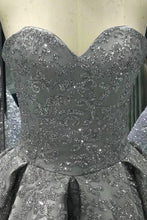 Load image into Gallery viewer, Sweetheart Gray Sleeveless Long Sequins Strapless Ball Gown Shiny Winter Prom Dresses RS575
