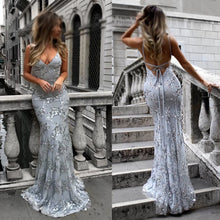 Load image into Gallery viewer, Sexy V-Neck Spaghetti Straps Grey Mermaid Sequined Backless Sleeveless Evening Dresses RS239