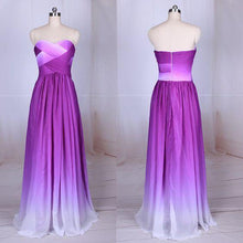Load image into Gallery viewer, Simple Purple Strapless Sweetheart A-Line Chiffon Ombre Backless Prom Dresses RS364