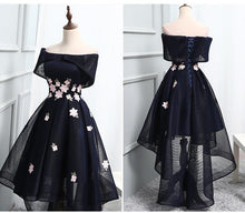 Load image into Gallery viewer, 2019 Chic Off-the-Shoulder Appliques Asymmetrical Short High Low Homecoming Dress
