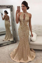 Load image into Gallery viewer, Mermaid Sleeveless Halter Sequins Golden Open Back Sweep Train Satin Prom Dresses RS556