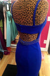 Royal Blue Scoop Mermaid Sleeveless Backless Beads Spandex Prom Dresses RS618