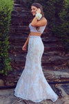 Mermaid Lace Sweep Train Pearl Pink Scoop Beads Two Piece New Style Prom Dresses RS300