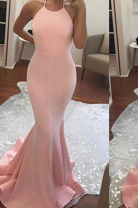 2019 Halter Mermaid Halter Pink Backless Long Sleeveless Floor Length Long Prom Dresses RS766