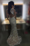 2019 Sheath Sleeveless Open Back Mermaid Lace V-neck Sweep Train Wedding Dresses RS292