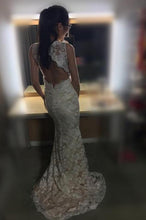 Load image into Gallery viewer, 2019 Sheath Sleeveless Open Back Mermaid Lace V-neck Sweep Train Wedding Dresses RS292