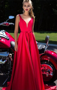 New A-Line Appliques Beads Floor Length Deep V-Neck Red Sexy Elegant Prom Dresses RS484