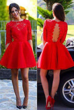 Load image into Gallery viewer, Red Cocktail Dress Sexy Long sleeve Backless Lace homecoming Dress