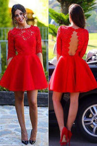 Red Cocktail Dress Sexy Long sleeve Backless Lace homecoming Dress