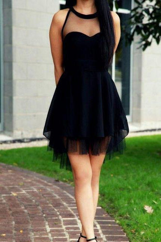 2019 Cute Little Black High Neck Tulle Tea Length Short Prom Dresses Homecoming Dresses RS504