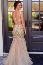 Load image into Gallery viewer, Scoop Floor-Length Tulle Sequins Sleeveless Backless Beading Prom Dresses RS395