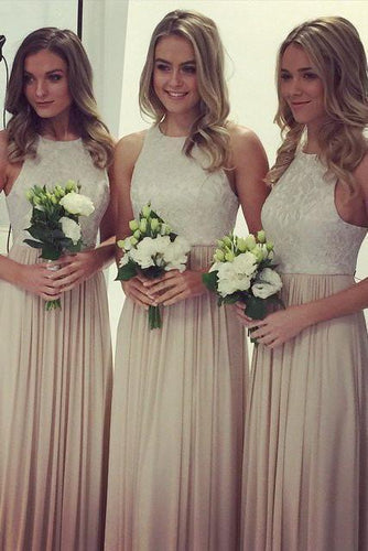 2019 A-Line O Neck Lace Top Long Chiffon Sleeveless Floor-Length Bridesmaid Dresses RS350