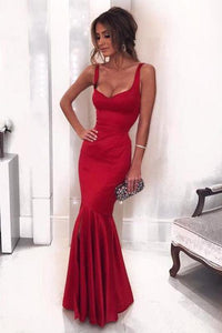 Sexy Low Neck Dark V-Neck Backless Red Satin Mermaid Long Custom Prom Dresses RS434