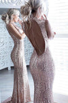 Mermaid Pink Sparkle Beaded Sequins Bodice Backless Sexy Prom Dresses RS507