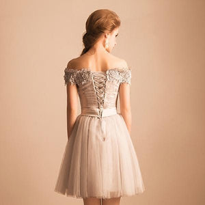 2019 Off-the-Shoulder Lace Short Prom Dress Beading Tulle Cute Lace-up Homecoming Dress RS247