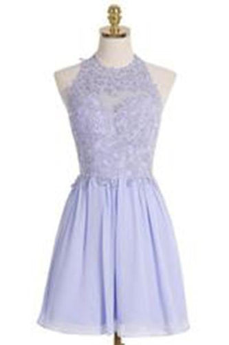A-line Halter Short Lilac Chiffon Homecoming Dress Appliques Crystal RS483