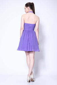 Lovely Halter Neckline Short Chiffon Cute Mini Homecoming Dress Graduation Dress RS124