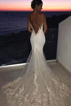 Load image into Gallery viewer, Sexy Mermaid Spaghetti Straps Wedding Dresses Lace Appliques Wedding Gowns with Tulle W1035