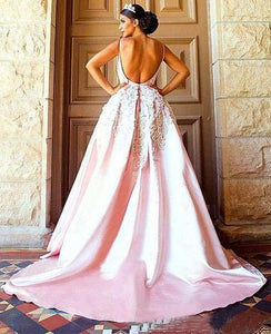 Unique Pink Backless Spaghetti Straps Sweep Train Appliques Long Prom Dresses RS363