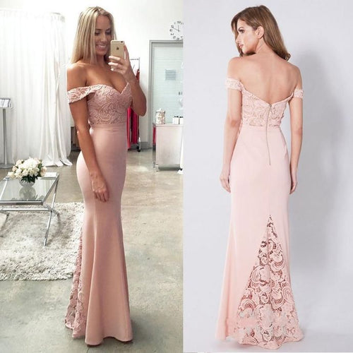 Lace Elastic Satin Off-the-shoulder Mermaid Sweetheart Floor-length Ruffles Prom Dresses RS633