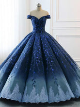 Load image into Gallery viewer, Ball Gown Navy Blue Lace Applique Ombre Off the Shoulder Princess Quinceanera Dresse RS269