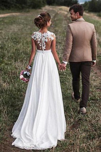 2019 Lovely Off White Lace Appliques Cap Sleeves Long Chiffon Beach Wedding Dresses RS304
