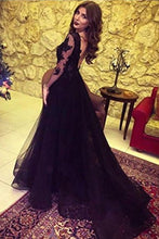 Load image into Gallery viewer, A Line Long Sleeve Slit Black Tulle Lace Appliques Backless Sweetheart Prom Dresses RS38
