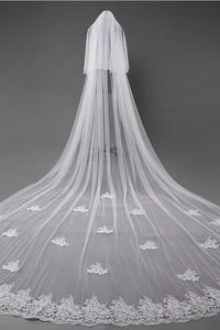 3D Flowers Lace Appliques Tulle Ivory Wedding Veils RS180