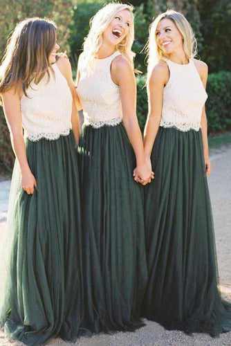 A Line Lace Bodice Green and White Tulle Long Round Neck Bridesmaid Dresses RS285