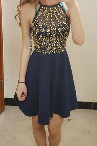 Unique Round Neck Rhinestones Short Dark Blue Chiffon Homecoming Dresses RS806