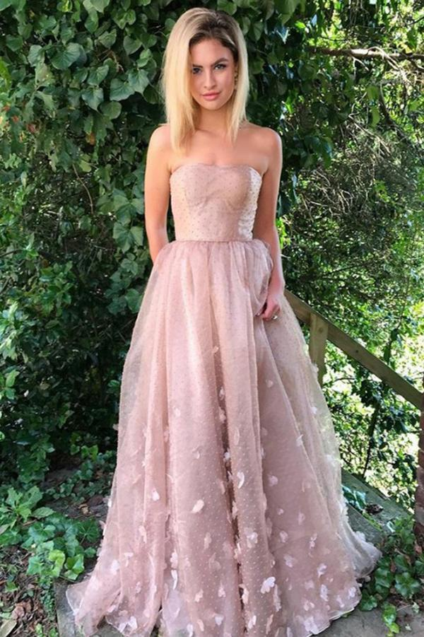Princess A-Line Strapless Pink Lace Sleeveless Tulle Appliques Pockets Prom Dresses RS822