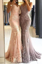 Load image into Gallery viewer, Unique Sweetheart Spaghetti Straps Lace Appliques Mermaid Long Prom Dresses RS115