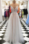 Sexy Spaghetti Straps Tulle V Neck Gray Long Beaded Sleeveless Prom Dresses RS133