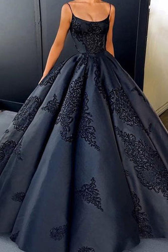 2019 Ball Gown Spaghetti Straps Navy Blue Vintage Cheap Long Prom Quinceanera Dresses RS113