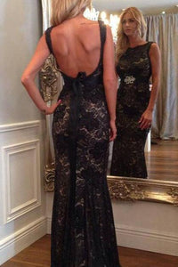 Long Prom Dresses Mermaid Scoop Neck Lace Beading Black Backless Evening Dress RS696