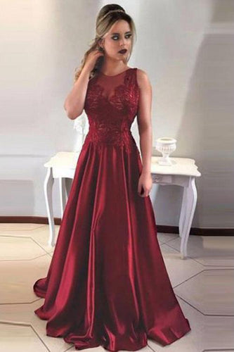 Simple A-Line Round Neck V-Back Maroon Satin Sleeveless Prom Dresses with Lace RS394