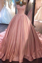 Load image into Gallery viewer, Ball Gown Pink Strapless Appliques Sweetheart Sweep Train Satin Evening Dresses RS775
