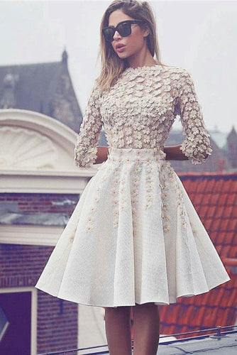 Glamorous Lace Short Flowers A-Line 3/4 Sleeves Hoco Knee-Length Homecoming Dresses RS301