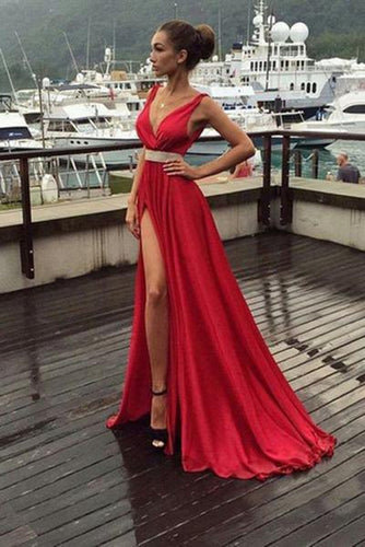 A-Line Red Simple With Slip Side Satin Chiffon Charming Deep V-Neck Sleeveless Prom Dresses RS250