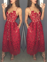 Load image into Gallery viewer, Mid-calf Red Lace Spaghetti Straps with Pockets Sweetheart Homecoming Dresses RS642