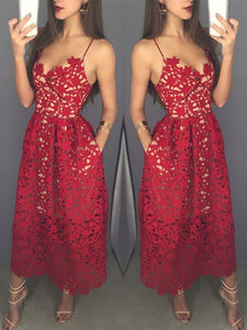 Mid-calf Red Lace Spaghetti Straps with Pockets Sweetheart Homecoming Dresses RS642