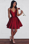 A-Line Spaghetti Straps Short V-Neck Dark Red Satin Homecoming Dress with Pockets RS593