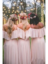 Load image into Gallery viewer, Off the Shoulder Chiffon Slate Gray Mismatched Bridesmaid Dresses Long Party Dresses BD1011
