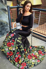 Load image into Gallery viewer, A Line Off the Shoulder Two Piece Long Sleeve Satin Floral Scoop Long Prom Dresses RS188