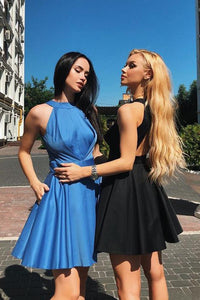Simple A Line Halter Open Back Satin Blue Short Homecoming Dresses with Pockets RS945