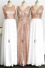 Load image into Gallery viewer, A Line Gliiter Rose Gold Sequins White Chiffon Long Bridesmaid Dresses Prom Dress RS583