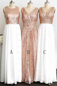 A Line Gliiter Rose Gold Sequins White Chiffon Long Bridesmaid Dresses Prom Dress RS583